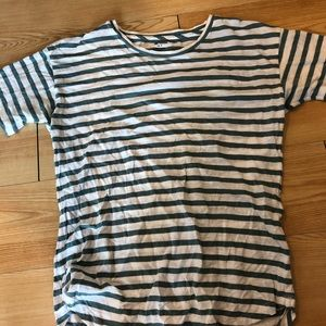 Madewell green and white striped tee